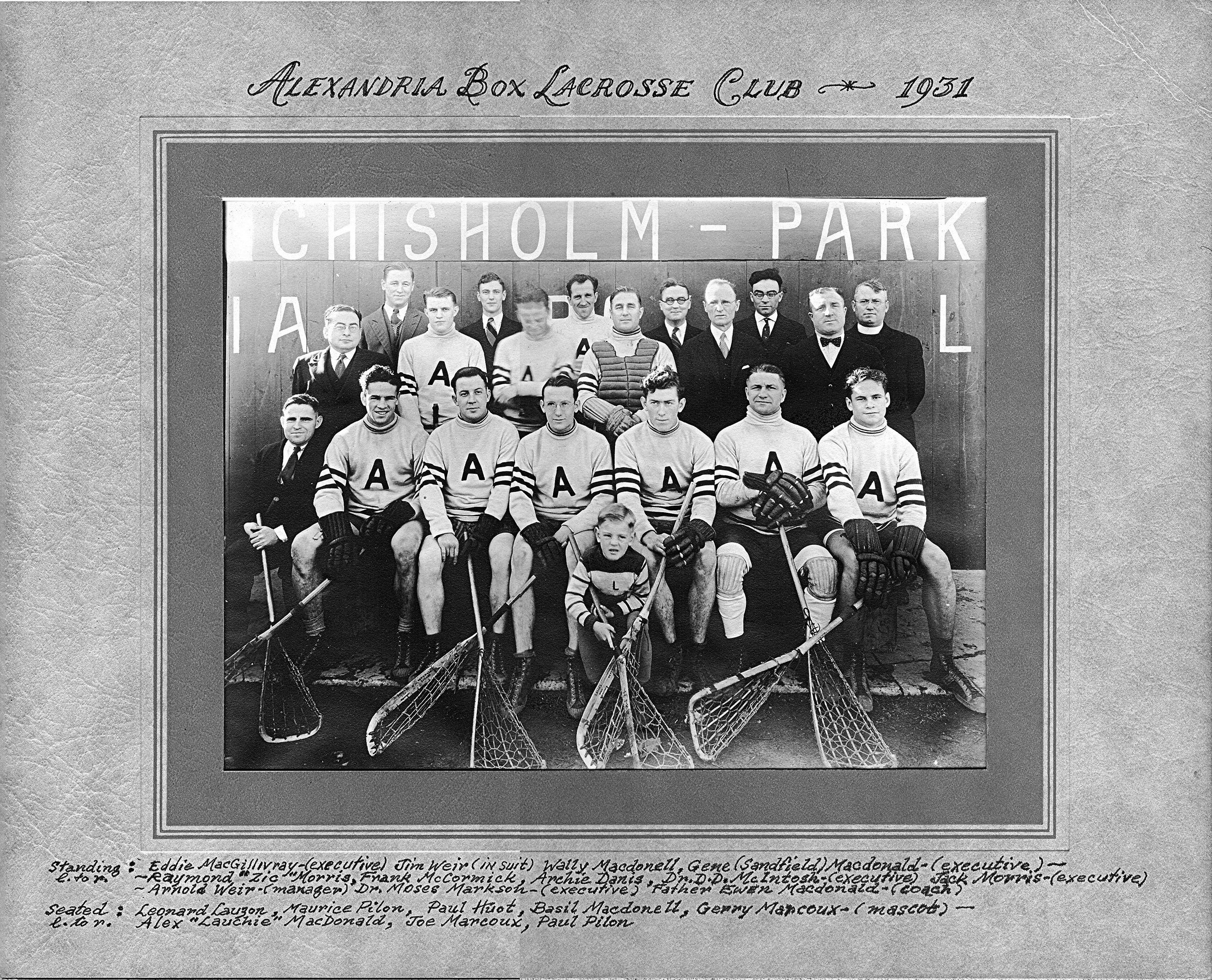 box lacrosse team from 1931
