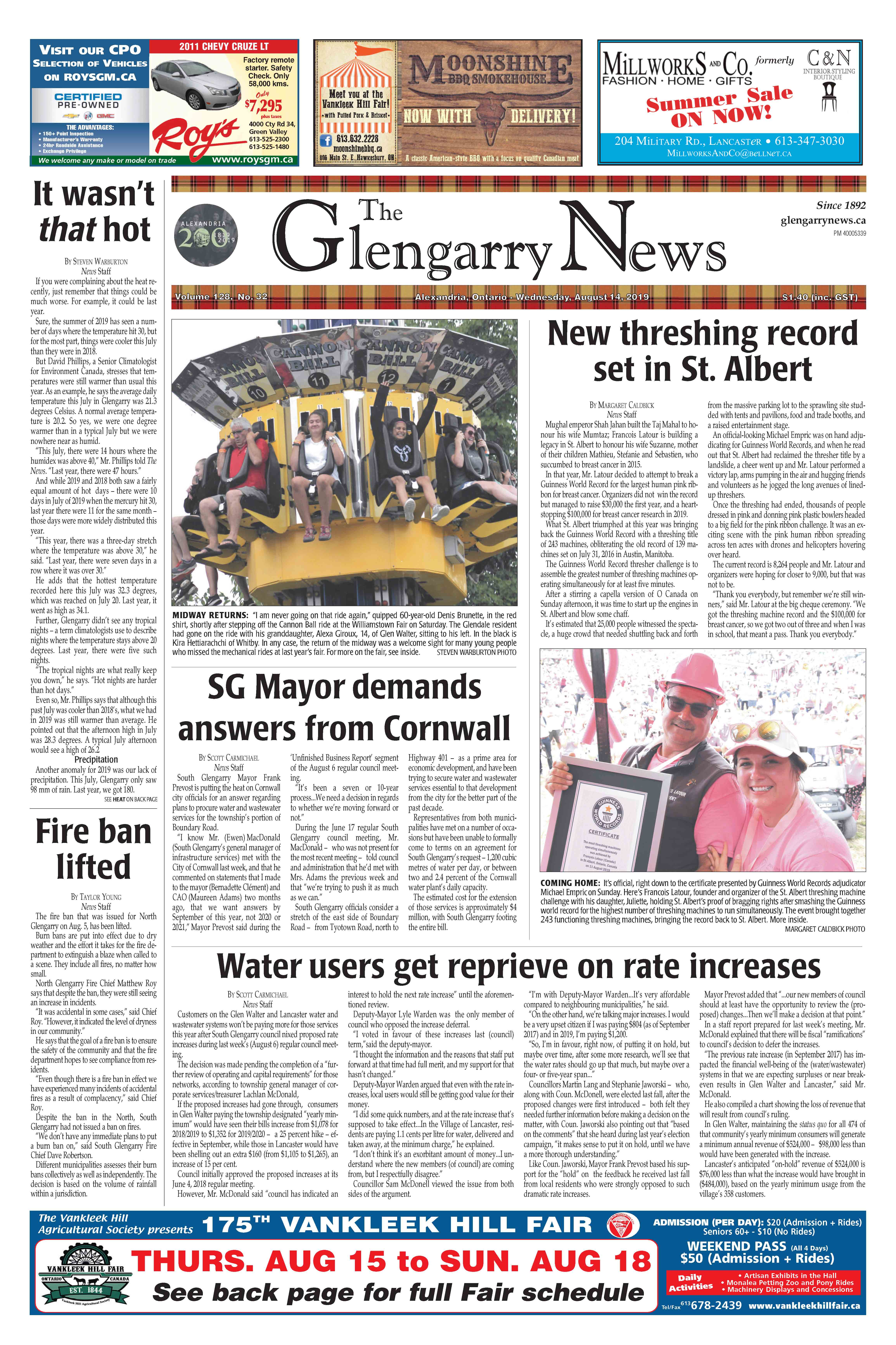 glengarry news front page
