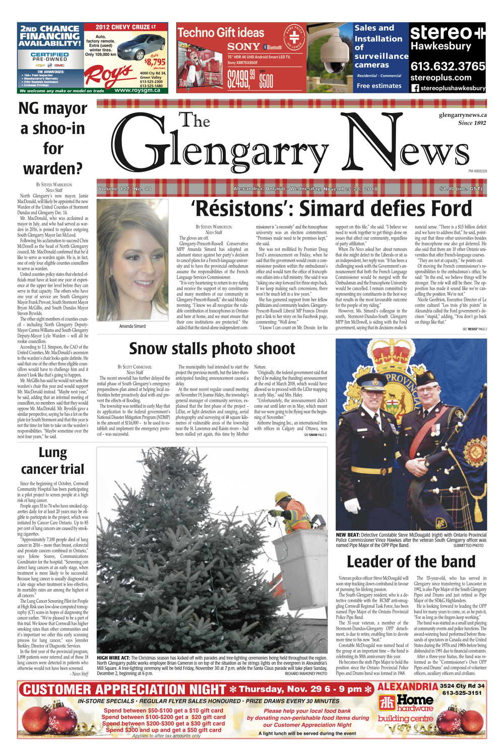 The front page of The News for November 28, 2018 | The Glengarry News