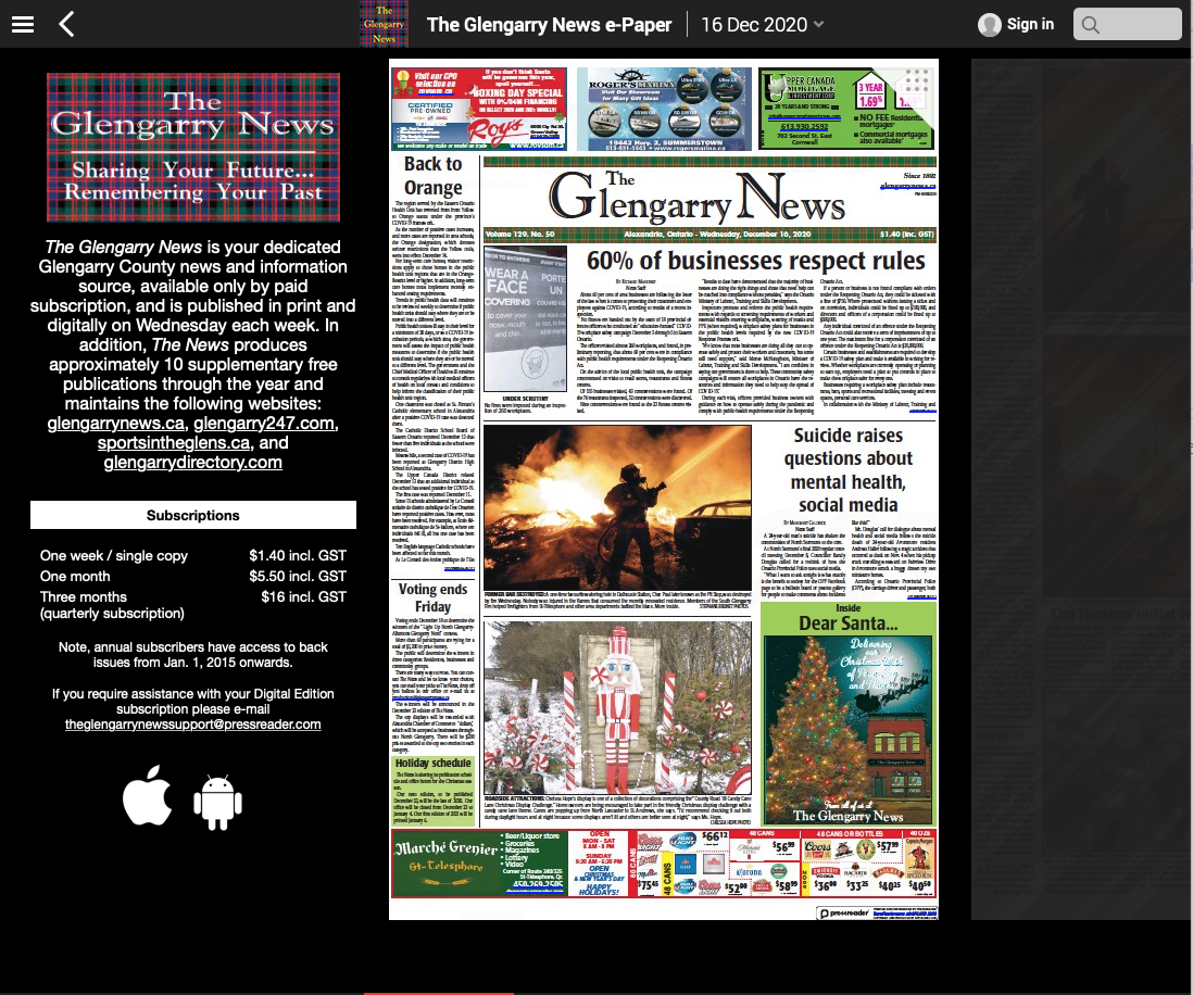 Digital Edition of The glengarry News