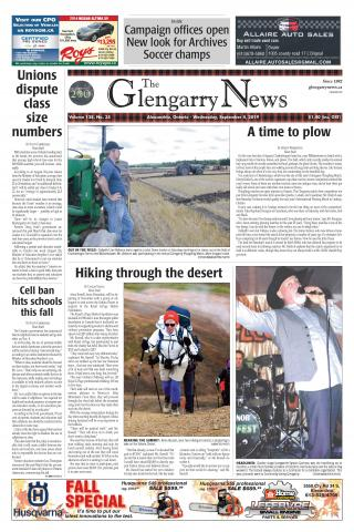 glengarry news front page, SDG township, alexandria ontario